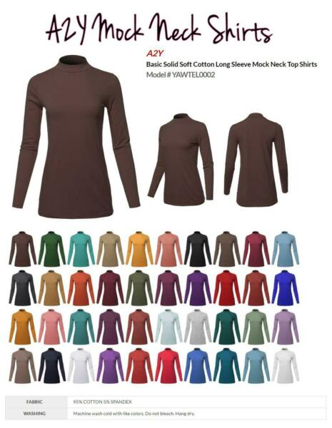 Basic Solid Soft Cotton Long Sleeve Mock Neck Top Shirts $14.79