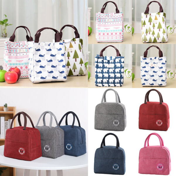 US Large Insulated Lunch Bag Cooler Picnic Travel Food Box Women Tote Carry Bags