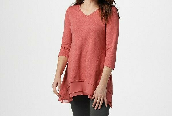 A267847 LOGO by Lori Goldstein French Terry Top with Tiered Chiffon Trim-504