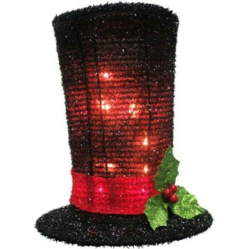 Christmas Tree Topper or Centerpiece mantel Snowman Top Hat Lighted 8 12 inch