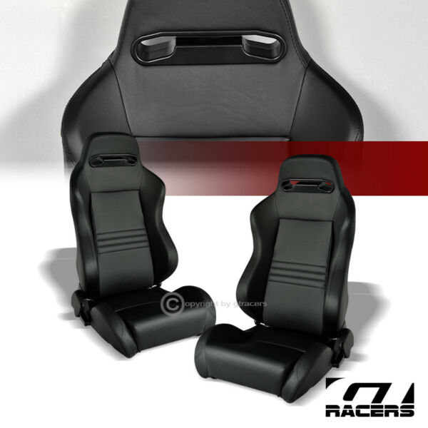 2X Universal Tr Blk Stitch Pvc Leather Reclinable Racing Bucket Seats+Slider G01