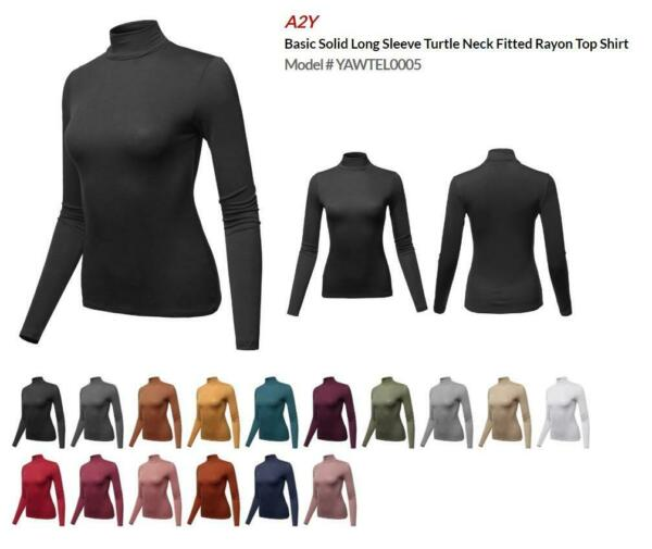 Basic Solid Long Sleeve Turtle Neck Fitted Rayon Top Shirt $14.89