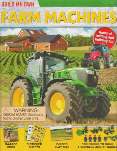 Build Own Farm Machines 4 Figures Vehicles Book Play Mat Stickers 169 Bricks New