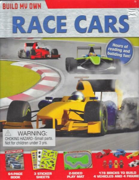 Build Own Race Cars 4 Figures Vehicles Book Play Mat Stickers 178 Bricks 6 Yrs
