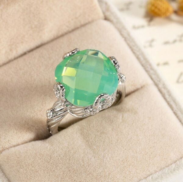 Special Fire Square Green Moonstone Gems Silver Rings Size 6 10 Holiday Gifts