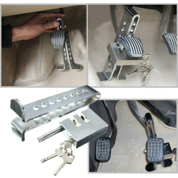 Brake Pedal Lock Security Auto Car Stainless Steel Clutch Lock Anti-theft Kit