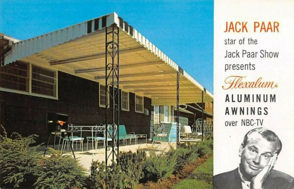 FLEXALUM ALUMINUM AWNINGS CHROME ADV PC AS SEEN ON JACK PAAR#x27;S TV SHOW c 1950#x27;s