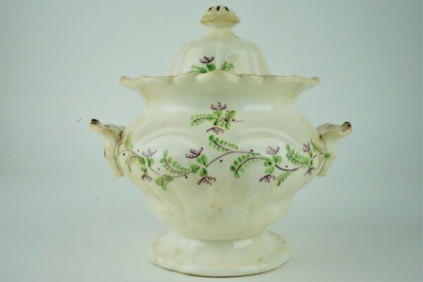 Antique Sprig Pattern Floral 1820's Sugar Bowl - English Style Bowl and Lid