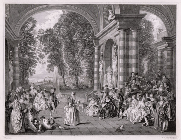 Great Antoine WATTEAU Signed 1800s Engraving quot;Le Bal Champetrequot; FRAMED COA