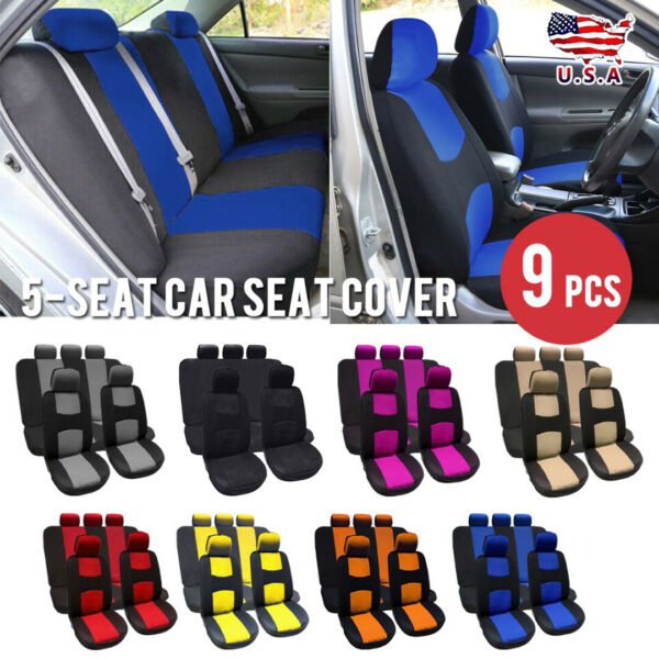 9 Parts Car Seat Cover for Auto Full Set wSteering Wheel CoverBelt Pads5heads