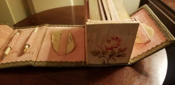 ANTIQUE BOXED BRIDGE SET celluoid scorer PENCIL COLUMBIA NATIONAL PLAYING CARDS