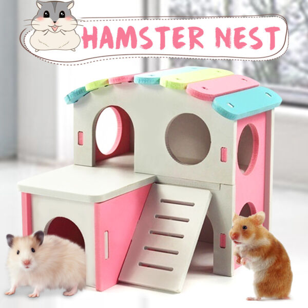 Hamster Nest Pet Wooden Bed House with Stairs Small Animal Sleeping Hut Play Toy