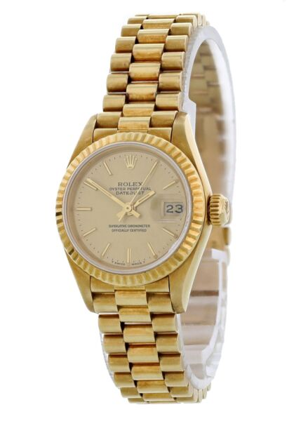 Rolex Oyster Perpetual Datejust 69178 18K Yellow Gold President Ladies Watch