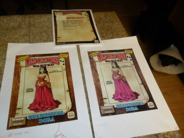 3 LOT ORIGINAL PROOF & PRODUCTION WILD WEST MOVIE BURGER KING TOY SALMA HAYEK