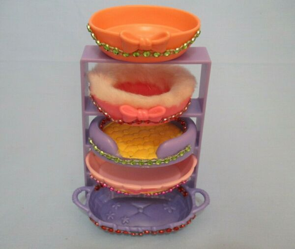 Littlest Pet Shop Random Lot of 4 Different Bed Basket w Gems Cat Dog Accessory $11.58