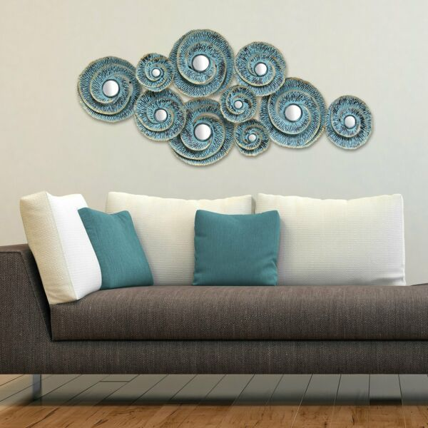 Abstract Country Wall Art Large Metal Plates Circle Mirror Above Fireplace Decor
