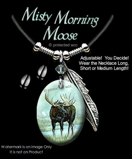 MISTY MORNING MOOSE NECKLACE for MALE or FEMALE - ART WILDLIFE - FREE SHIP #L24