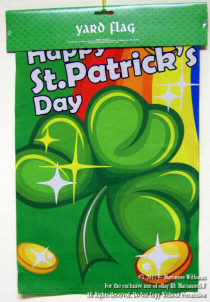 NEW ST PATRICKS DAY GARDEN YARD FLAG BANNER GREEN SHAMROCKS GOLD COINS 12 x 18