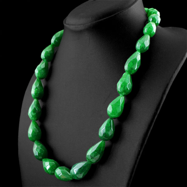 565.00 CTS EARTH MINED RICH GREEN EMERALD PEAR FACETED BEADS NECKLACE (DG)
