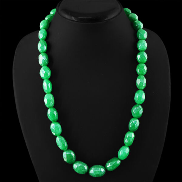 485.00 CTS EARTH MINED GREEN EMERALD OVAL FACETED BEADS NECKLACE STRAND (DG)