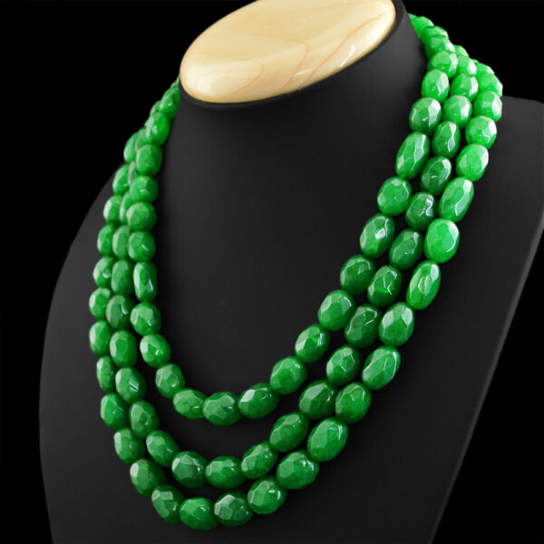 868.00 CTS EARTH MINED RICH GREEN EMERALD 3 LINE OVAL FACETED BEADS NECKLACE