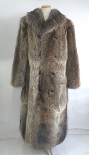 BRAND NEW PLAIN RACCOON RACOON FUR LONG COAT JACKET MEN MAN SIZE ALL