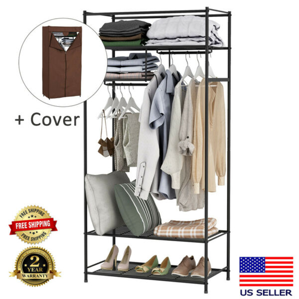 With Cover Metal Closet Organizer Wardrobe Cabinet Storage Clothes Rack Shelves