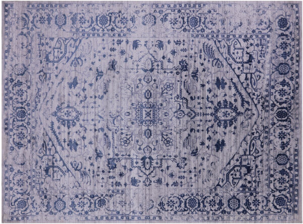 9' X 12' Heriz Silk And Wool Blend Hand Knotted Area Rug - Q4111