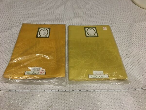 "NWT VINTAGE Pure Irish Linen Tablecloths Curry 52X52"" And Maize 52X68"" No. 5971"