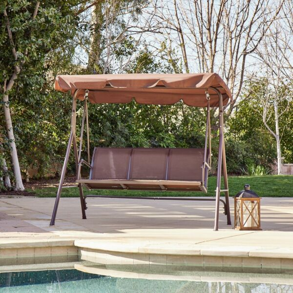 3 Person Patio Swing Canopy Awning Outdoor Hammock Steel Brown