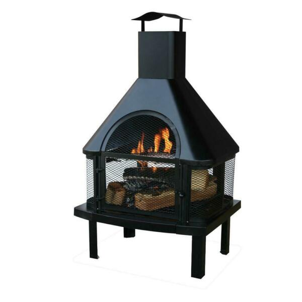 UniFlame Outdoor Fireplace 45 in. H Steel 360-Fire View Wood Burning