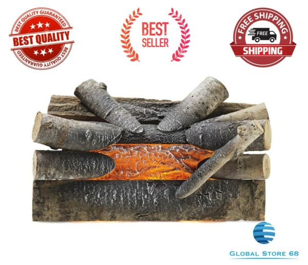 FIREPLACE LOGS Realistic Electric Crackling Fake Fire Set Wood Glowing Burning