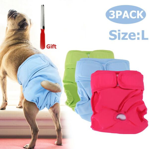 3x Dog Puppy Pet Diapers Belly Bands For Large Female Dogs Pant Size L Reuseable $17.67