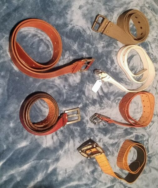 Grab this 1 set of 6 men#x27;s fashion belts Shades of brown amp; white belts SZ 34 38.