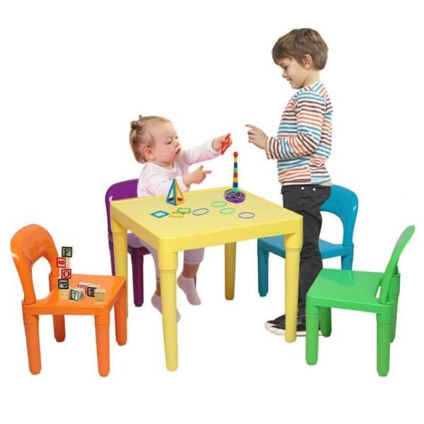 Kids Table & 4 Chairs Set For Boys Or Girls Toddler Toys Furniture Study Desk