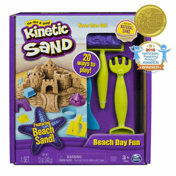 The One and Only Kinetic Sand Beach Day Fun Playset with Castle Molds Tools a