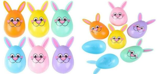 Colorful Bunny Shaped Plastic Eggs (24 Pack) Easter Baskets Egg Hunt Cupcake Top