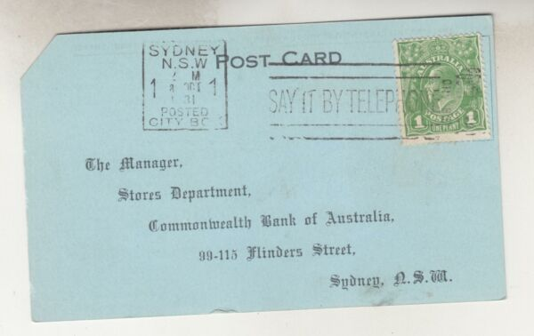 AUSTRALIA KGV 1d. Green Postal Card1931 Commonwealth Bank Pay Envelope Order