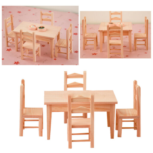 Dolls House Simulation Furniture Kitchen Mini Wooden Table 4 Chairs Scene Accs