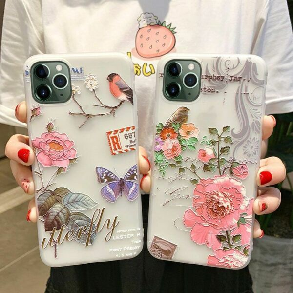 3D Relief Couple Phone Case Soft TPU Floral Flower Bird Love Cover for iPhone $8.99