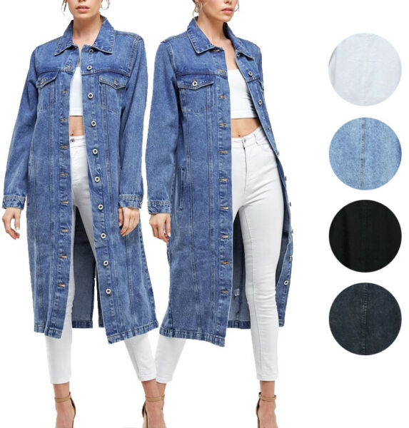 Women#x27;s Long Casual Maxi Length Denim Cotton Coat Oversize Button Up Jean Jacket