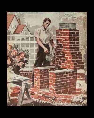 6 Brick FIREPLACE BBQ GRILL 1940 HowTo Design PLANS