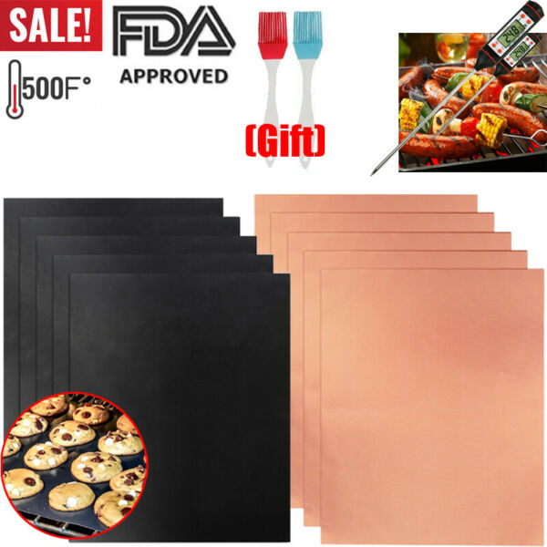 5x Grill Mat BBQ Mesh Non Stick Cooking Sheet Liner Pad Thermometer 2xBrush