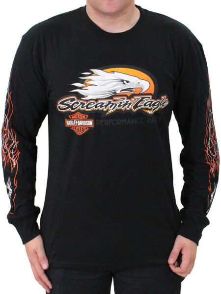 Harley Davidson Mens Screamin#x27; Eagle Flames Black Long Sleeve Biker T Shirt