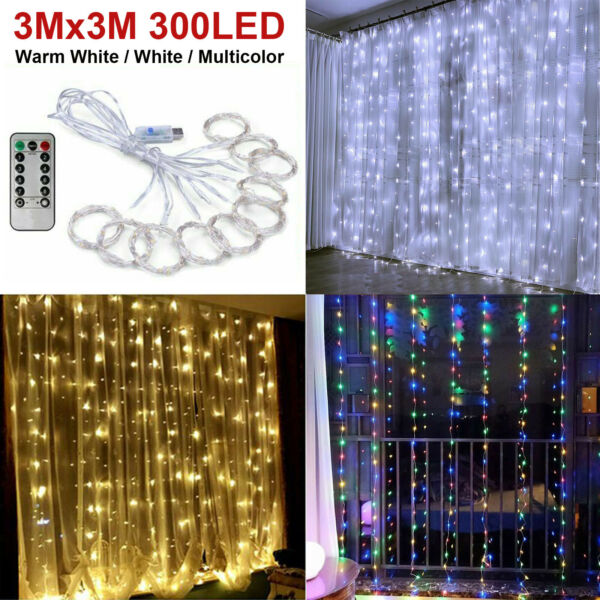 300LED 10ft Curtain Fairy Hanging String Lights Wedding Bedroom Home Decor USA