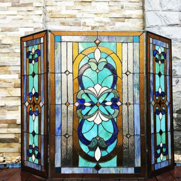 Stained Glass Tiffany Style Fireplace Screen 3 Section Mission Victorian