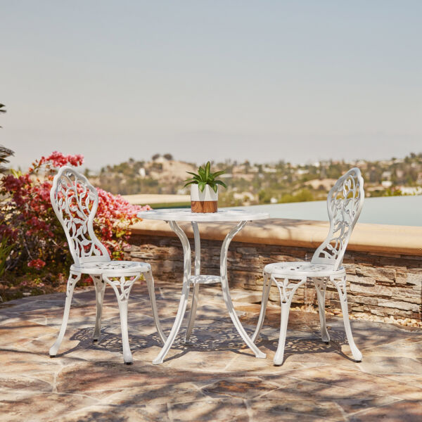 White Iron Cast 3 Piece Bistro Outdoor Patio Set Leaf Design Weather Resistant $149.99