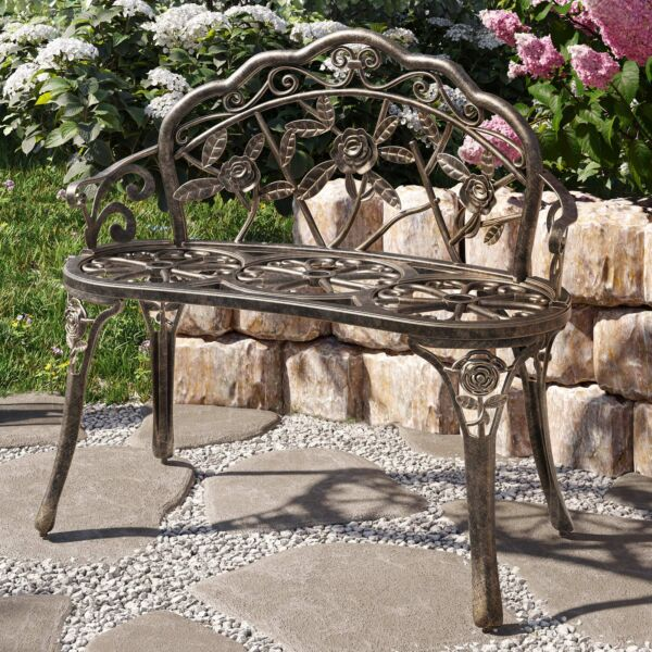 NEW 39quot; inch Antique Style Patio Porch Garden Bench Aluminum Outdoor Chair Rose