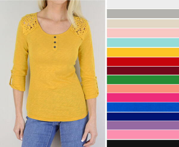 Women's Basic Casual Soft Cotton Stretch Crochet 34 Sleeve T-Shirt Top Solid