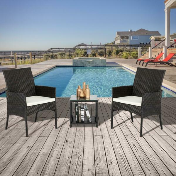 Outdoor Furniture Patio Set Wicker Rattan w Cushions Sofa Set Chairs Table 3pcs $135.99